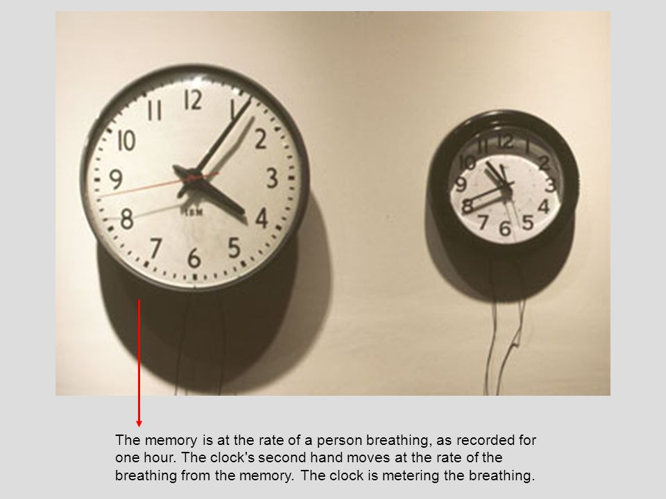 The memory is at the rate of a person breathing, as recorded for one hour. The clock's second hand moves at the rate of the breathing from the memory.