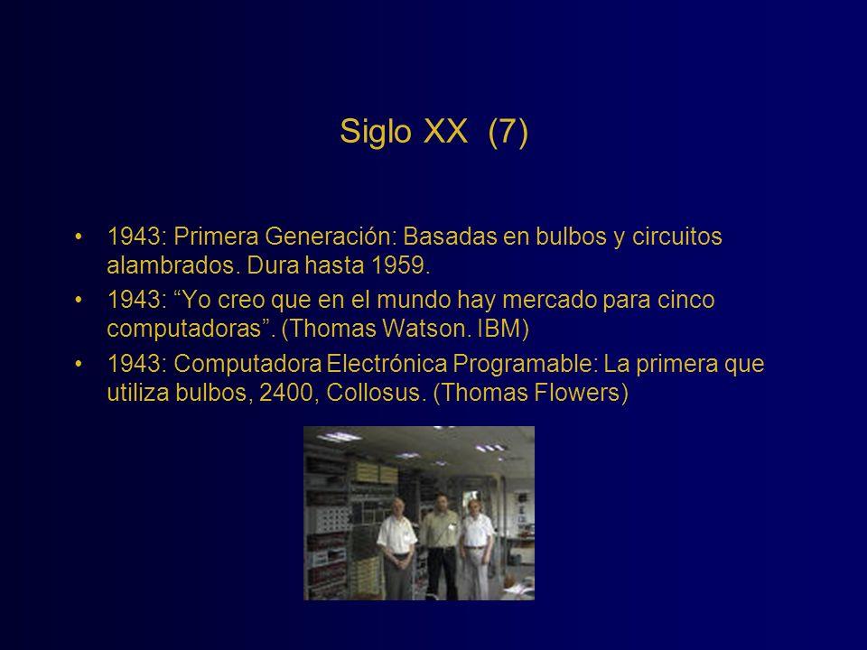 Siglo XX (7) 1943: Primera Generación: Basadas en bulbos y circuitos alambrados. Dura hasta 1959. 1943: Yo creo que en el mundo hay mercado para cinco