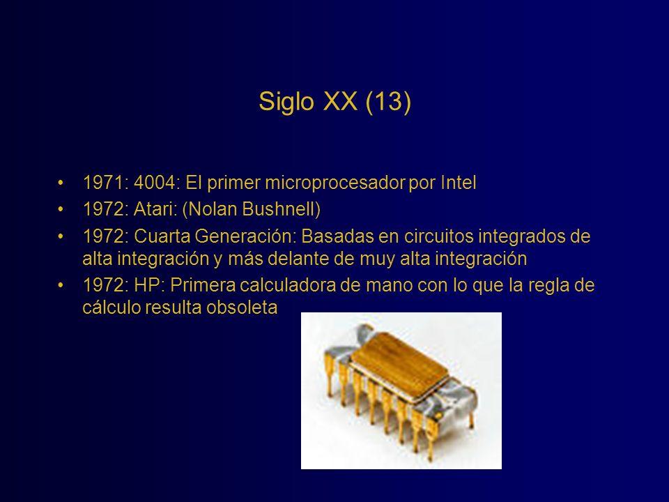 Siglo XX (13) 1971: 4004: El primer microprocesador por Intel 1972: Atari: (Nolan Bushnell) 1972: Cuarta Generación: Basadas en circuitos integrados d
