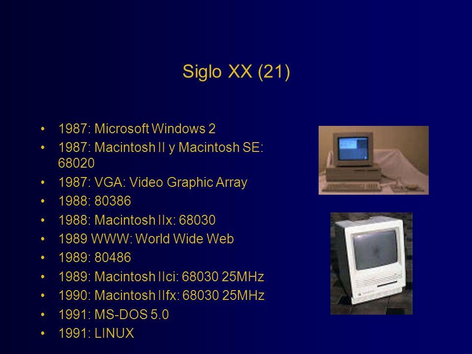Siglo XX (21) 1987: Microsoft Windows 2 1987: Macintosh II y Macintosh SE: 68020 1987: VGA: Video Graphic Array 1988: 80386 1988: Macintosh IIx: 68030