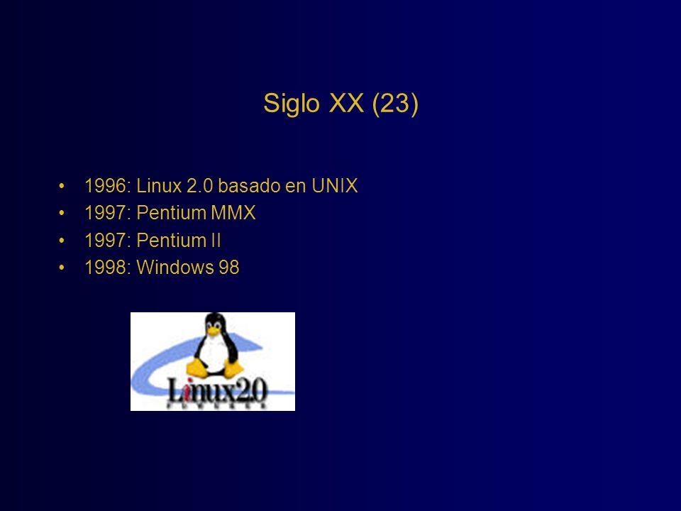 Siglo XX (23) 1996: Linux 2.0 basado en UNIX 1997: Pentium MMX 1997: Pentium II 1998: Windows 98