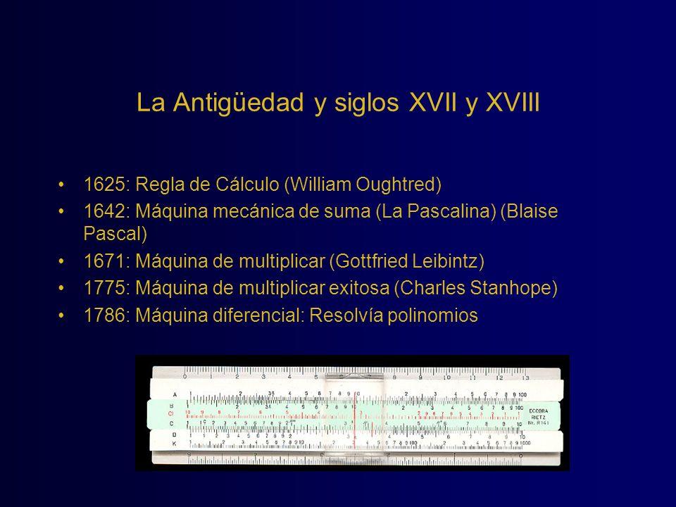 La Antigüedad y siglos XVII y XVIII 1625: Regla de Cálculo (William Oughtred) 1642: Máquina mecánica de suma (La Pascalina) (Blaise Pascal) 1671: Máqu