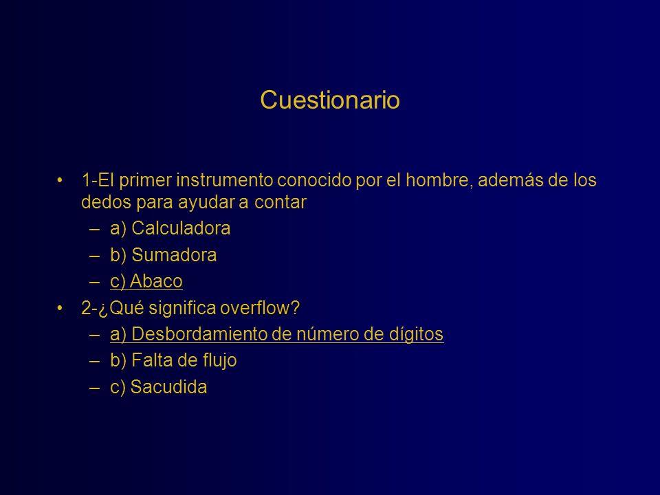 Cuestionario 1-El primer instrumento conocido por el hombre, además de los dedos para ayudar a contar –a) Calculadora –b) Sumadora –c) Abaco overflow?