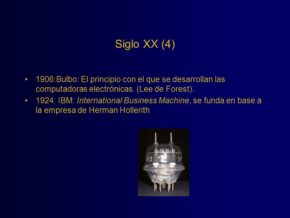 Siglo XX (4) 1906:Bulbo: El principio con el que se desarrollan las computadoras electrónicas. (Lee de Forest). 1924: IBM: International Business Mach