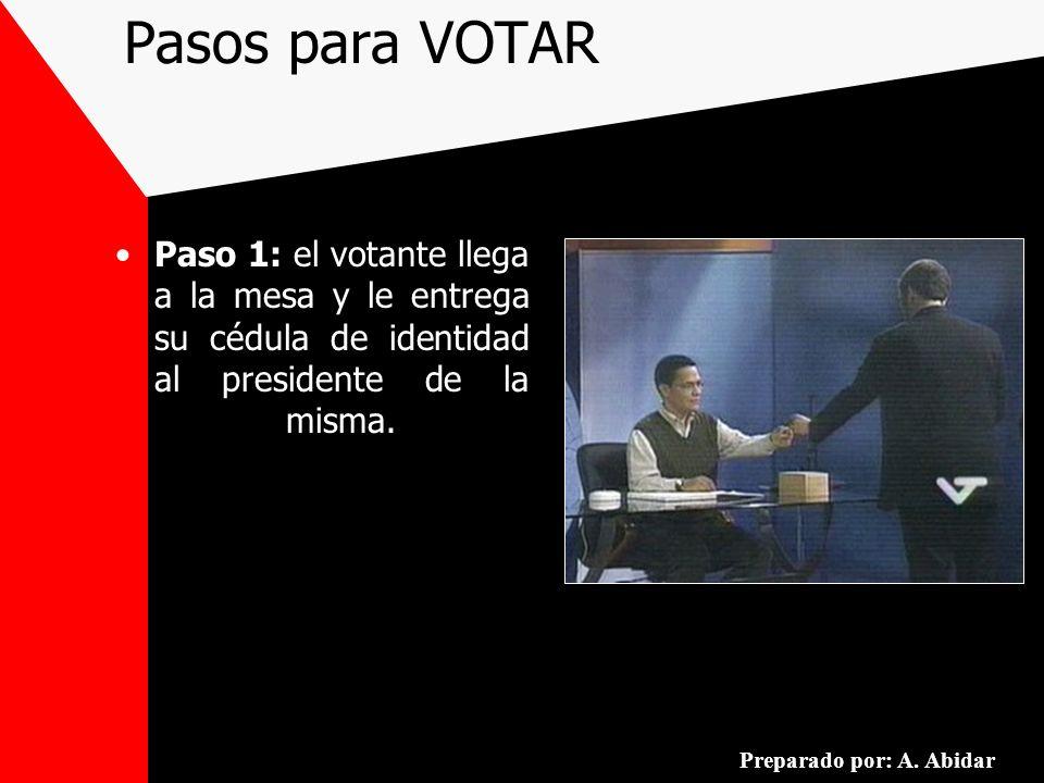 Pasos para VOTAR Paso 1: el votante llega a la mesa y le entrega su cédula de identidad al presidente de la misma. Preparado por: A. Abidar