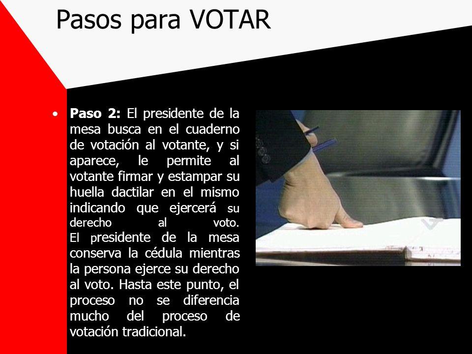Pasos para VOTAR Paso 2: El presidente de la mesa busca en el cuaderno de votación al votante, y si aparece, le permite al votante firmar y estampar s
