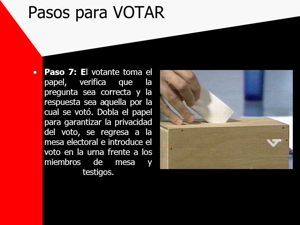 Paso 7: El votante toma el papel, verifica que la pregunta sea correcta y la respuesta sea aquella por la cual se votó. Dobla el papel para garantizar