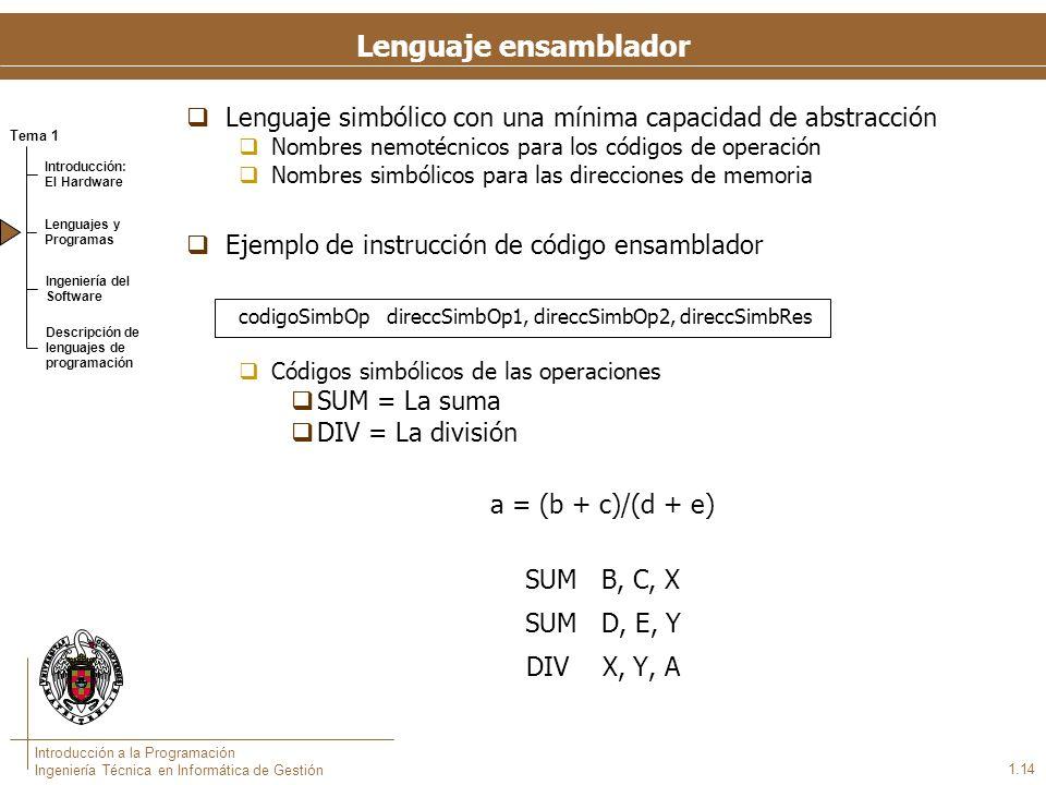 Tema 1 Introducción: El Hardware Lenguajes y Programas Ingeniería del Software Descripción de lenguajes de programación Introducción a la Programación Ingeniería Técnica en Informática de Gestión 1.14 Lenguaje ensamblador Lenguaje simbólico con una mínima capacidad de abstracción Nombres nemotécnicos para los códigos de operación Nombres simbólicos para las direcciones de memoria Ejemplo de instrucción de código ensamblador codigoSimbOp direccSimbOp1, direccSimbOp2, direccSimbRes Códigos simbólicos de las operaciones SUM = La suma DIV = La división a = (b + c)/(d + e) SUM B, C, X SUM D, E, Y DIV X, Y, A