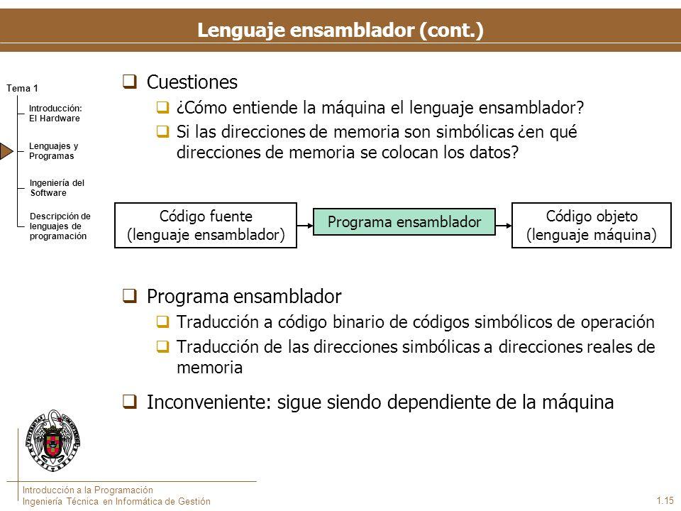 Tema 1 Introducción: El Hardware Lenguajes y Programas Ingeniería del Software Descripción de lenguajes de programación Introducción a la Programación Ingeniería Técnica en Informática de Gestión Cuestiones ¿Cómo entiende la máquina el lenguaje ensamblador.