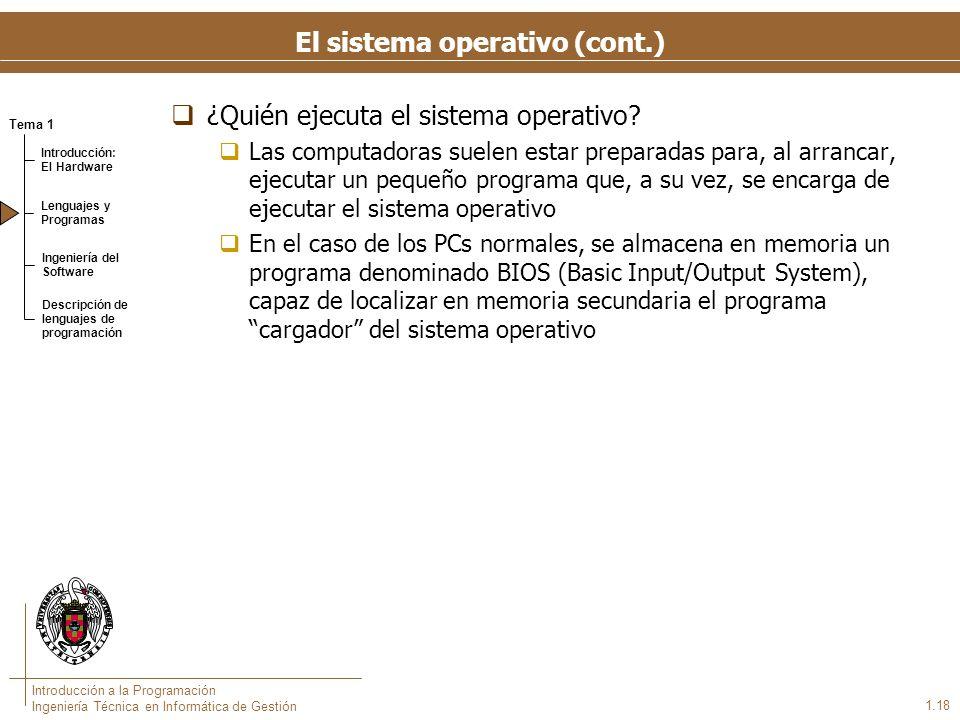 Tema 1 Introducción: El Hardware Lenguajes y Programas Ingeniería del Software Descripción de lenguajes de programación Introducción a la Programación Ingeniería Técnica en Informática de Gestión 1.18 El sistema operativo (cont.) ¿Quién ejecuta el sistema operativo.
