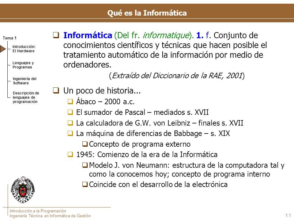 Tema 1 Introducción: El Hardware Lenguajes y Programas Ingeniería del Software Descripción de lenguajes de programación Introducción a la Programación Ingeniería Técnica en Informática de Gestión 1.1 Qué es la Informática Informática (Del fr.