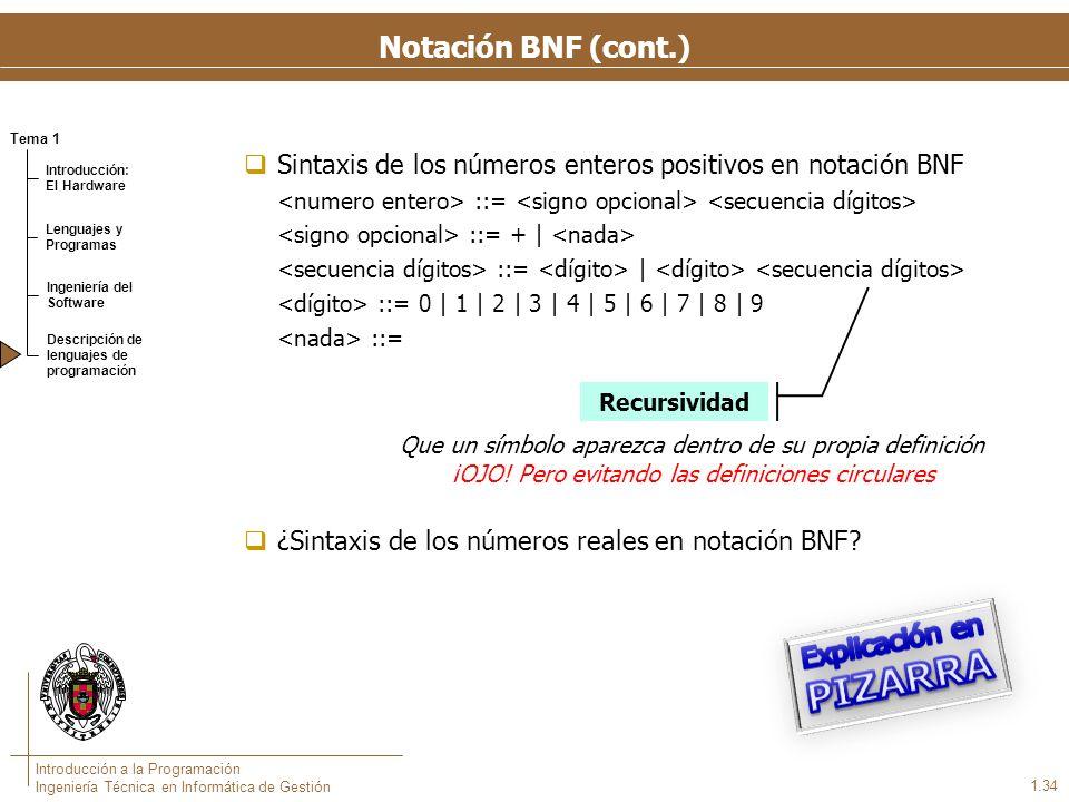 Tema 1 Introducción: El Hardware Lenguajes y Programas Ingeniería del Software Descripción de lenguajes de programación Introducción a la Programación Ingeniería Técnica en Informática de Gestión 1.34 Sintaxis de los números enteros positivos en notación BNF ::= ::= + | ::= | ::= 0 | 1 | 2 | 3 | 4 | 5 | 6 | 7 | 8 | 9 ::= ¿Sintaxis de los números reales en notación BNF.