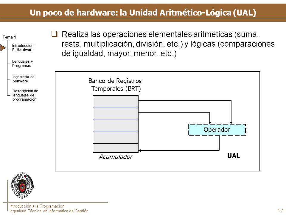 Tema 1 Introducción: El Hardware Lenguajes y Programas Ingeniería del Software Descripción de lenguajes de programación Introducción a la Programación Ingeniería Técnica en Informática de Gestión 1.7 Un poco de hardware: la Unidad Aritmético-Lógica (UAL) Realiza las operaciones elementales aritméticas (suma, resta, multiplicación, división, etc.) y lógicas (comparaciones de igualdad, mayor, menor, etc.) Banco de Registros Temporales (BRT) Operador UAL Acumulador