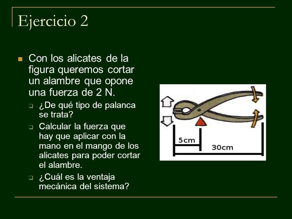 Ejercicio 2 Con los alicates de la figura queremos cortar un alambre que opone una fuerza de 2 N. ¿De qué tipo de palanca se trata? Calcular la fuerza
