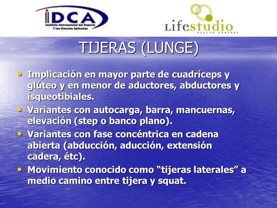 TIJERAS (LUNGE) Implicación en mayor parte de cuadríceps y glúteo y en menor de aductores, abductores y isqueotibiales. Implicación en mayor parte de