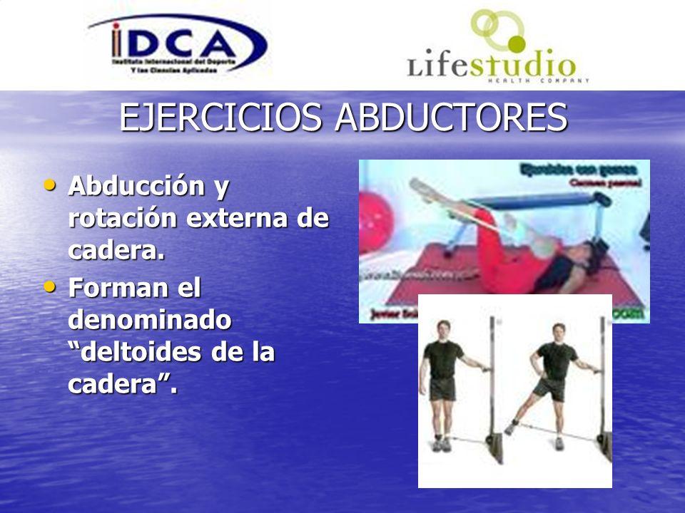 EJERCICIOS ABDUCTORES Abducción y rotación externa de cadera. Abducción y rotación externa de cadera. Forman el denominado deltoides de la cadera. For