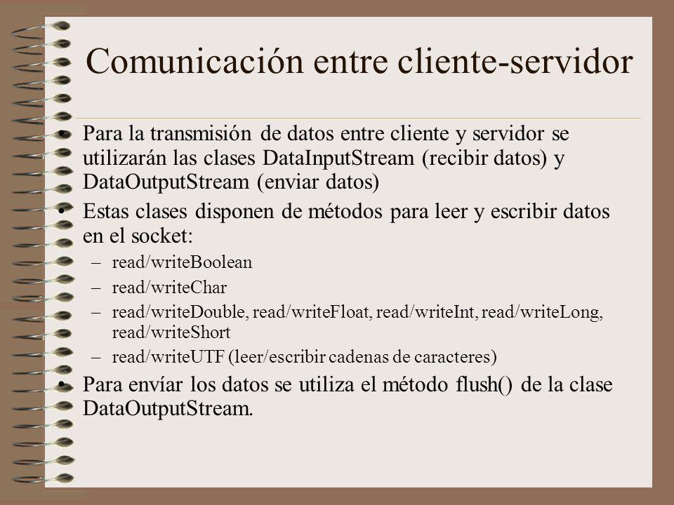 Comunicación entre cliente-servidor Para la transmisión de datos entre cliente y servidor se utilizarán las clases DataInputStream (recibir datos) y D