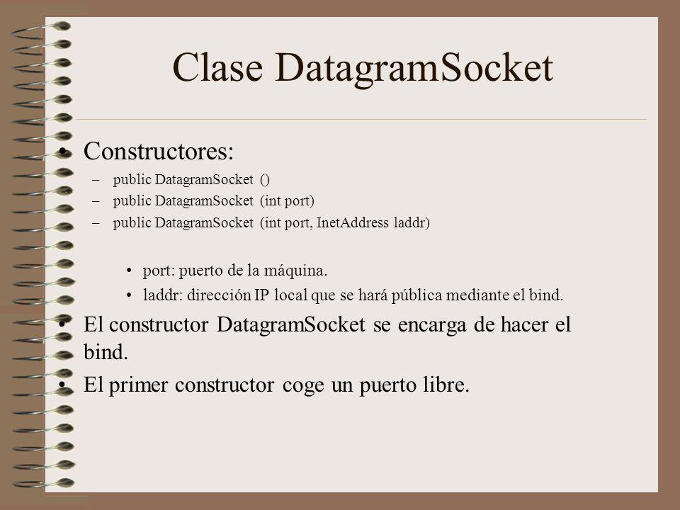 Clase DatagramSocket Constructores: –public DatagramSocket () –public DatagramSocket (int port) –public DatagramSocket (int port, InetAddress laddr) p