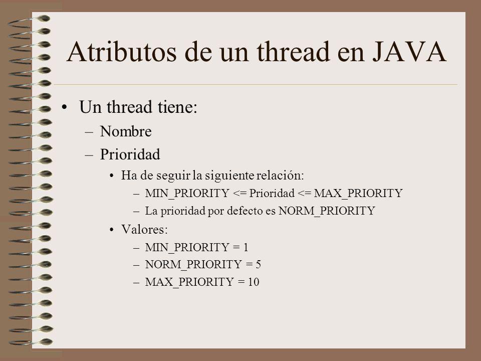 Atributos de un thread en JAVA Un thread tiene: –Nombre –Prioridad Ha de seguir la siguiente relación: –MIN_PRIORITY <= Prioridad <= MAX_PRIORITY –La