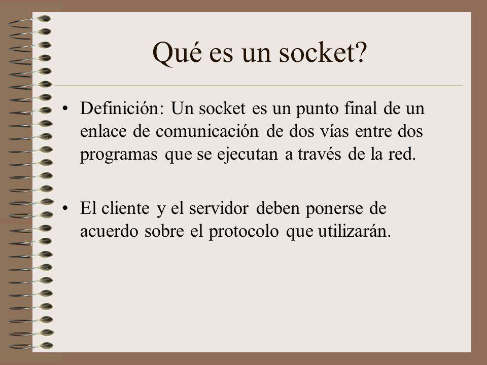 Qué es un socket? Definición: Un socket es un punto final de un enlace de comunicación de dos vías entre dos programas que se ejecutan a través de la
