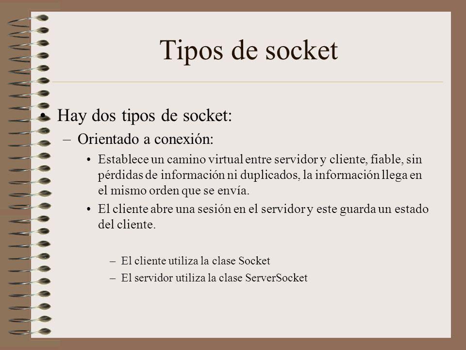 Tipos de socket Hay dos tipos de socket: –Orientado a conexión: Establece un camino virtual entre servidor y cliente, fiable, sin pérdidas de informac