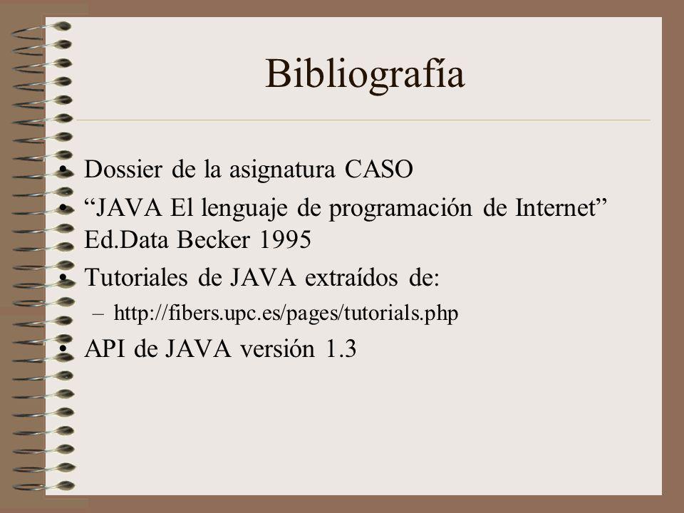 Bibliografía Dossier de la asignatura CASO JAVA El lenguaje de programación de Internet Ed.Data Becker 1995 Tutoriales de JAVA extraídos de: –http://f