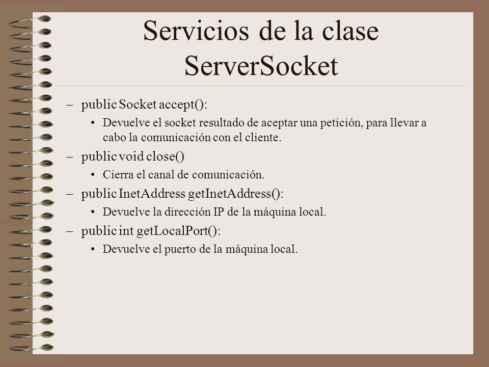 Servicios de la clase ServerSocket –public Socket accept(): Devuelve el socket resultado de aceptar una petición, para llevar a cabo la comunicación c