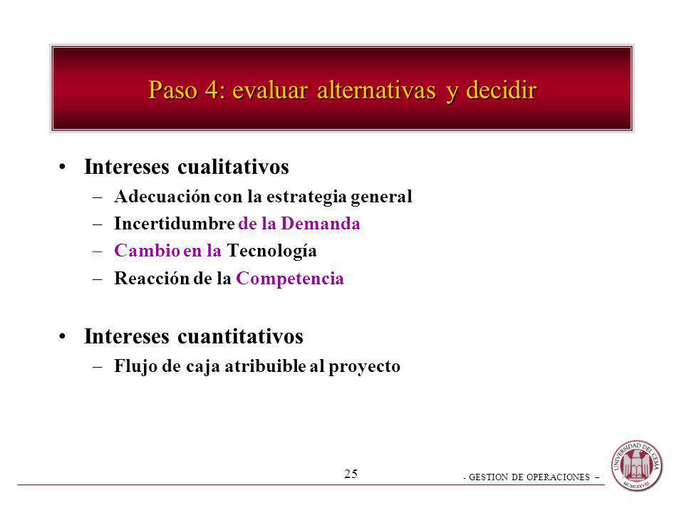 - GESTION DE OPERACIONES – 25 Paso 4: evaluar alternativas y decidir Intereses cualitativos –Adecuación con la estrategia general –Incertidumbre de la