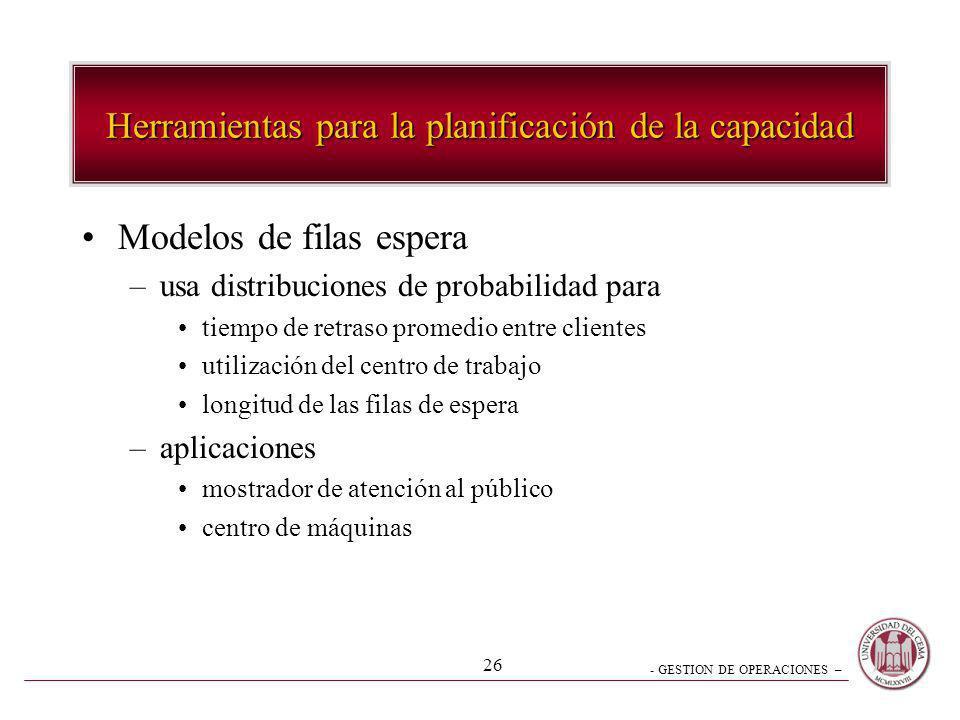 - GESTION DE OPERACIONES – 26 Herramientas para la planificación de la capacidad Modelos de filas espera –usa distribuciones de probabilidad para tiem