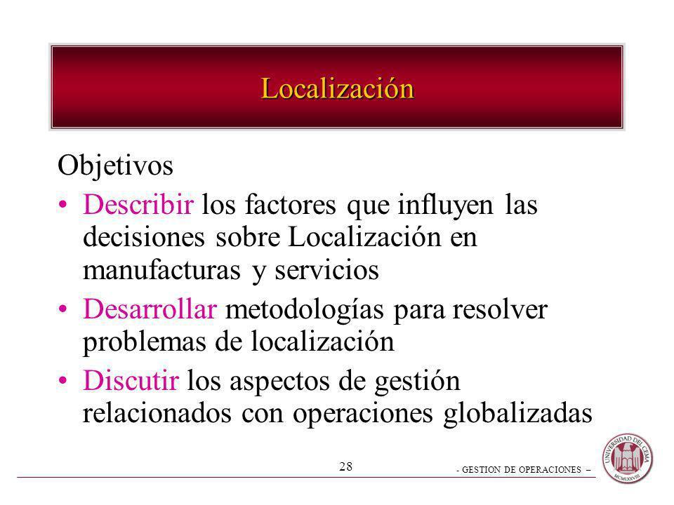 - GESTION DE OPERACIONES – 28 Localización Objetivos Describir los factores que influyen las decisiones sobre Localización en manufacturas y servicios