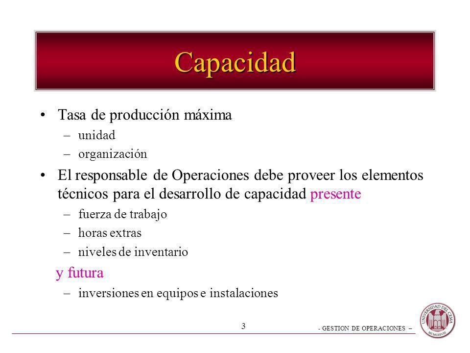 - GESTION DE OPERACIONES – 3 Capacidad Tasa de producción máxima –unidad –organización El responsable de Operaciones debe proveer los elementos técnic