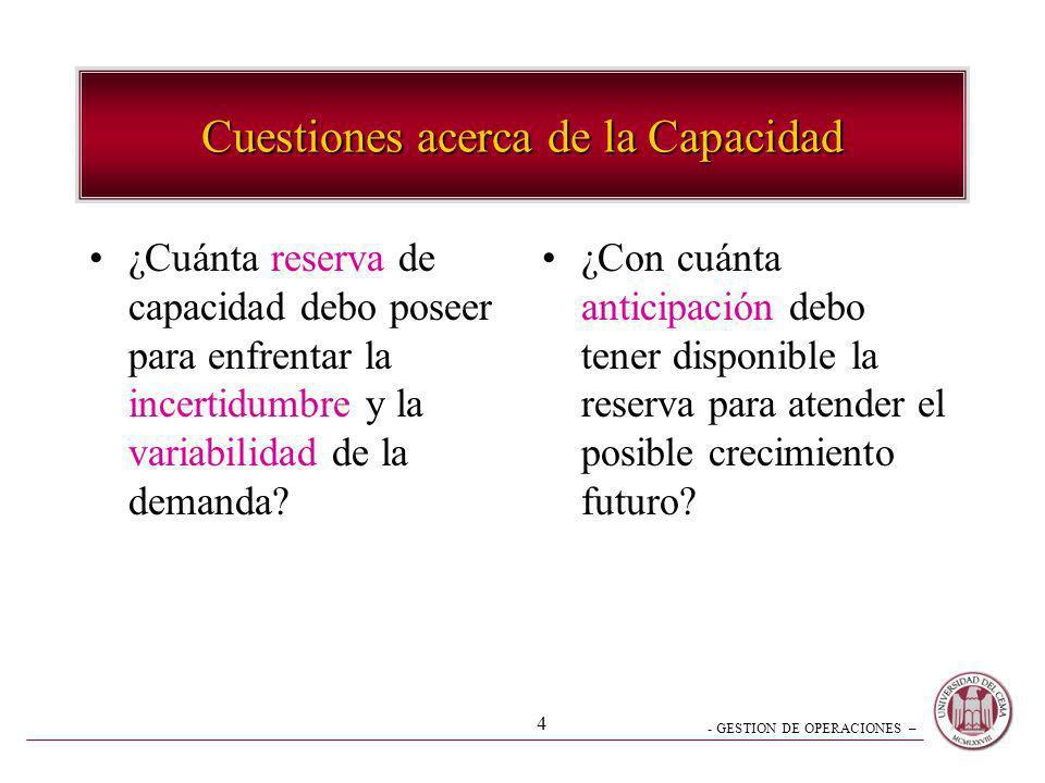 - GESTION DE OPERACIONES – 4 Cuestiones acerca de la Capacidad ¿Cuánta reserva de capacidad debo poseer para enfrentar la incertidumbre y la variabili