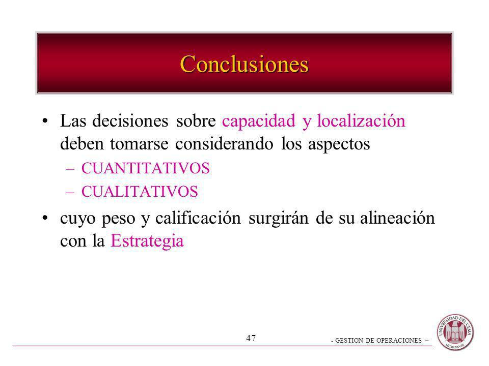 - GESTION DE OPERACIONES – 47 Conclusiones Las decisiones sobre capacidad y localización deben tomarse considerando los aspectos –CUANTITATIVOS –CUALI