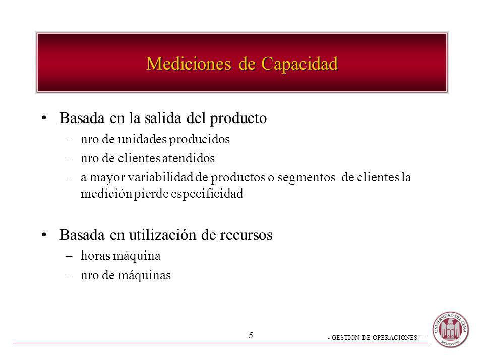 - GESTION DE OPERACIONES – 5 Mediciones de Capacidad Basada en la salida del producto –nro de unidades producidos –nro de clientes atendidos –a mayor