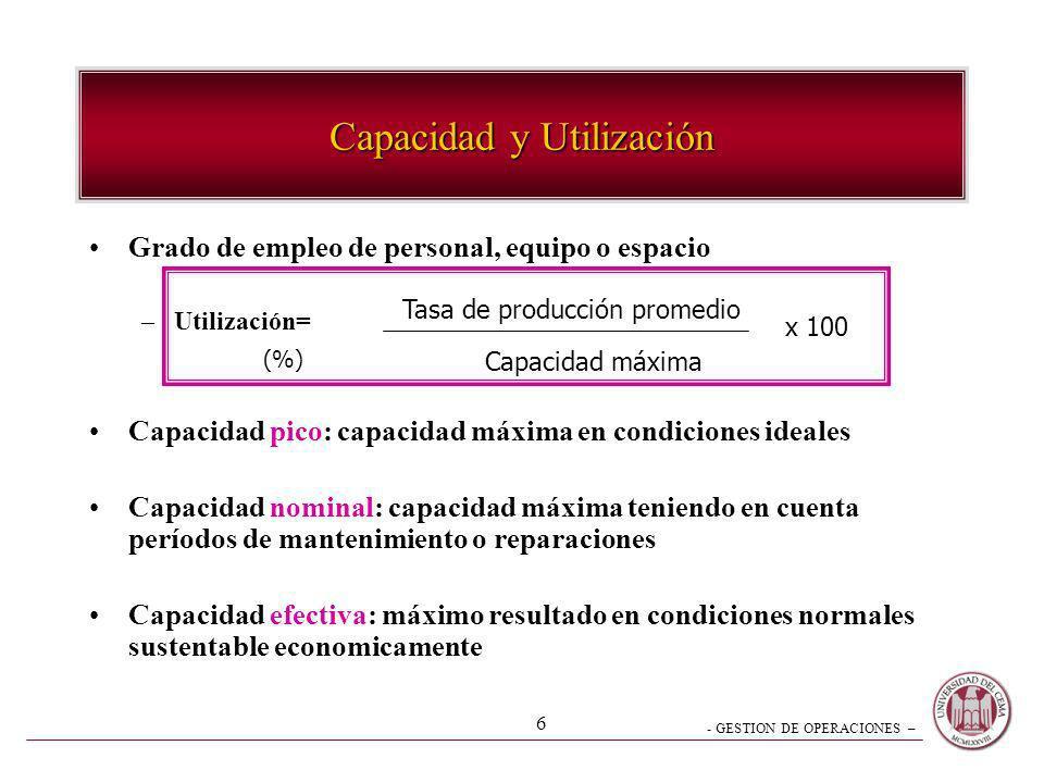 - GESTION DE OPERACIONES – 6 Capacidad y Utilización Grado de empleo de personal, equipo o espacio –Utilización= Capacidad pico: capacidad máxima en c