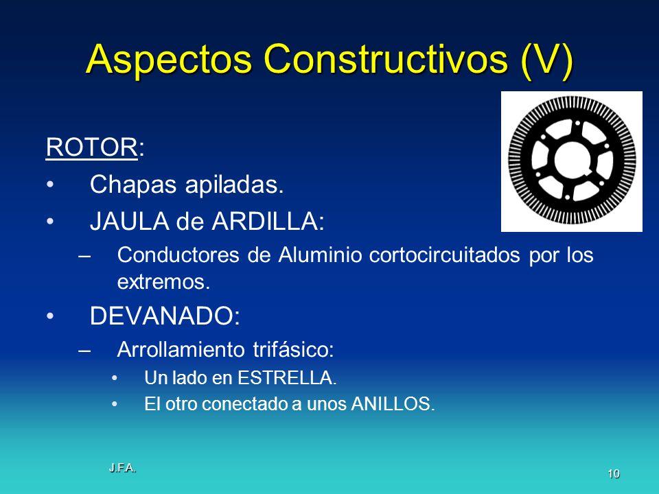 J.F.A. 10 Aspectos Constructivos (V) ROTOR: Chapas apiladas. JAULA de ARDILLA: –Conductores de Aluminio cortocircuitados por los extremos. DEVANADO: –