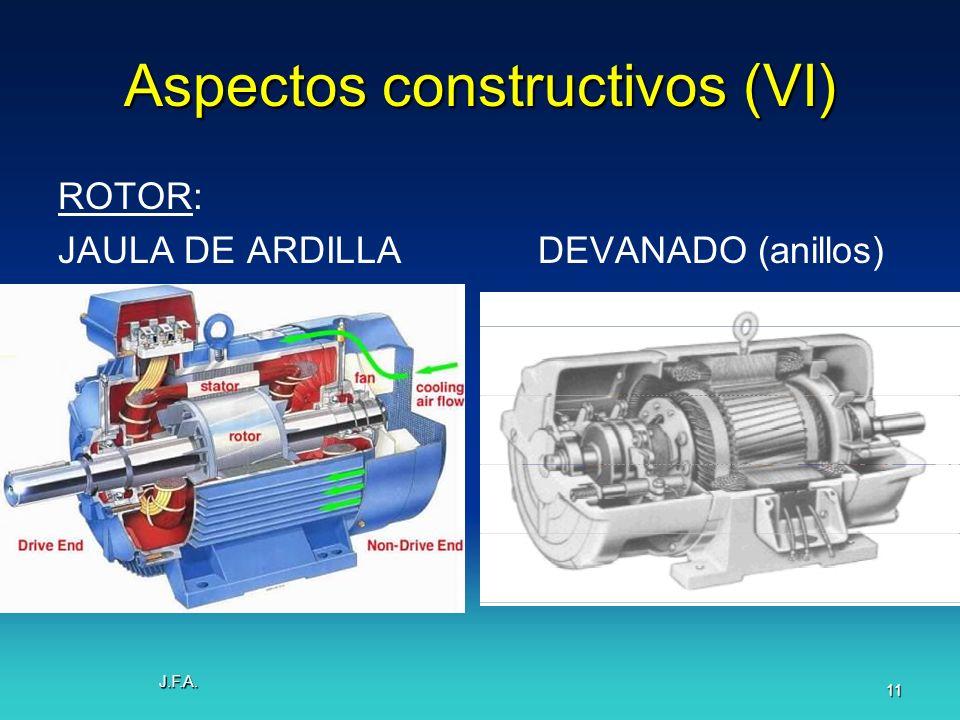 J.F.A. 11 Aspectos constructivos (VI) ROTOR: JAULA DE ARDILLADEVANADO (anillos)