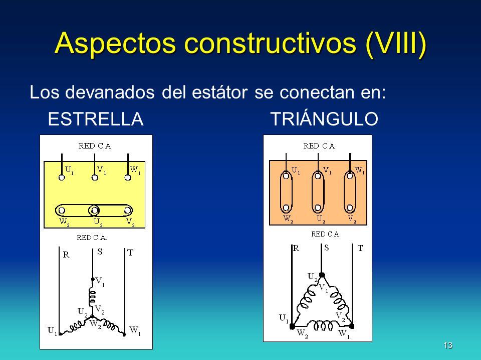 J.F.A. 13 Aspectos constructivos (VIII) Los devanados del estátor se conectan en: ESTRELLATRIÁNGULO