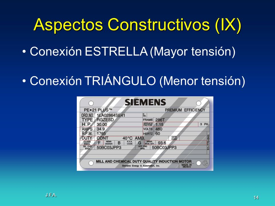 J.F.A. 14 Aspectos Constructivos (IX) Conexión ESTRELLA (Mayor tensión) Conexión TRIÁNGULO (Menor tensión)