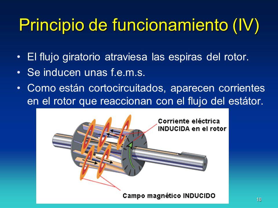 J.F.A. 18 Principio de funcionamiento (IV) El flujo giratorio atraviesa las espiras del rotor. Se inducen unas f.e.m.s. Como están cortocircuitados, a
