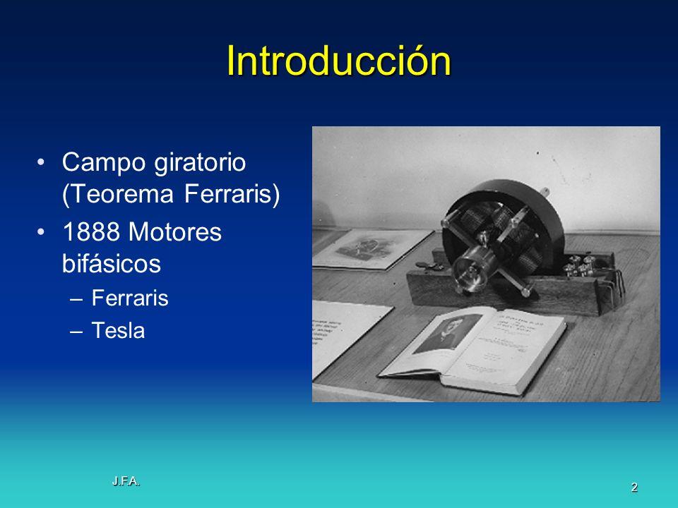 J.F.A. 2 Introducción Campo giratorio (Teorema Ferraris) 1888 Motores bifásicos –Ferraris –Tesla