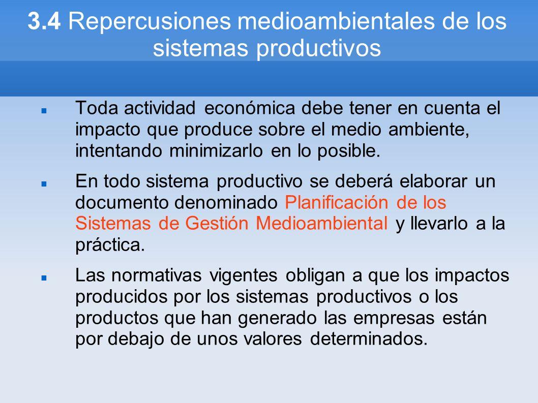 3.4 Repercusiones medioambientales de los sistemas productivos Toda actividad económica debe tener en cuenta el impacto que produce sobre el medio amb
