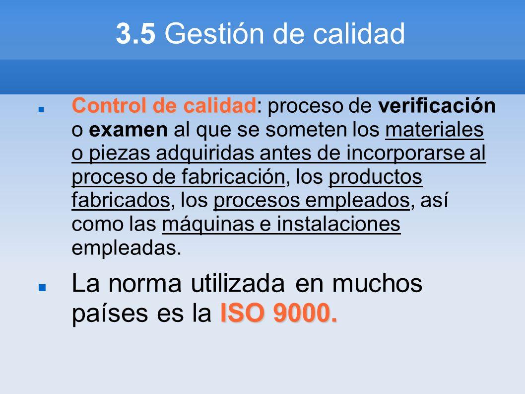 3.5 Gestión de calidad Control de calidad Control de calidad: proceso de verificación o examen al que se someten los materiales o piezas adquiridas an