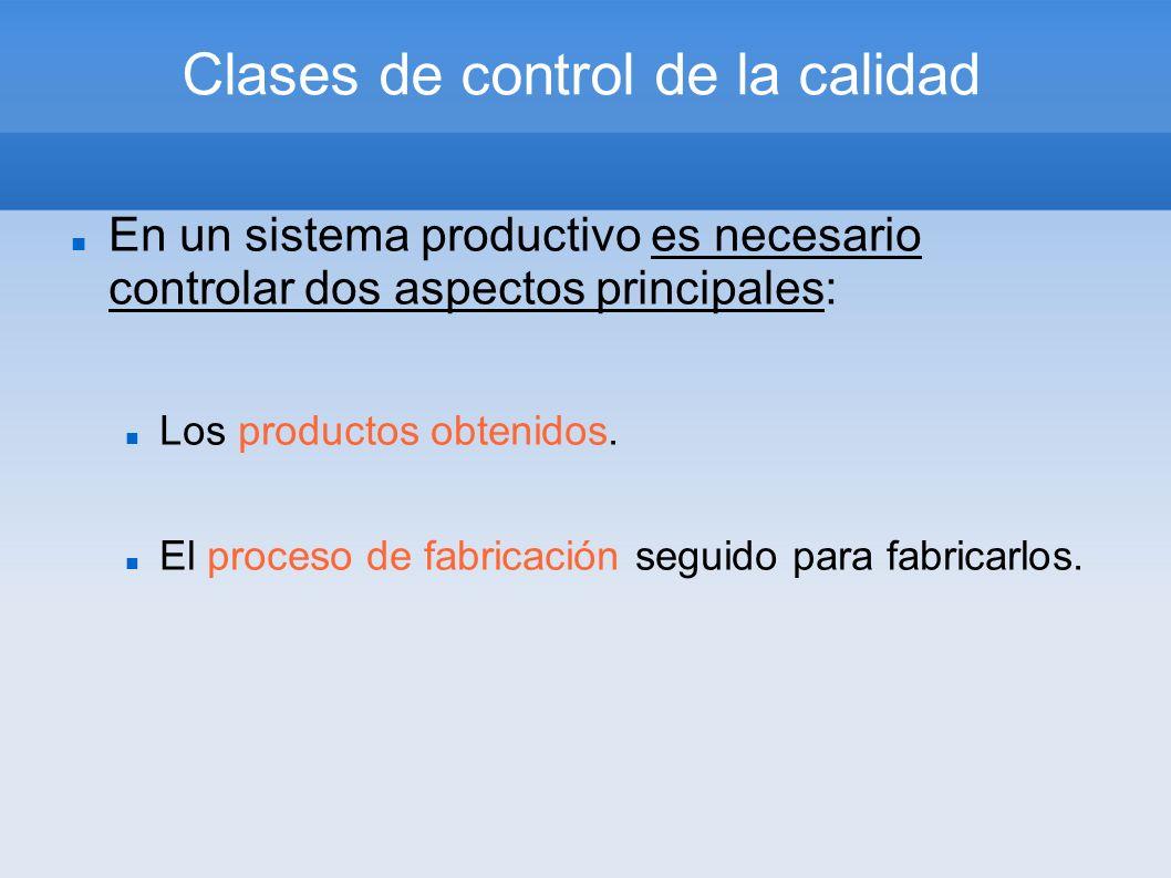 Clases de control de la calidad En un sistema productivo es necesario controlar dos aspectos principales: Los productos obtenidos. El proceso de fabri