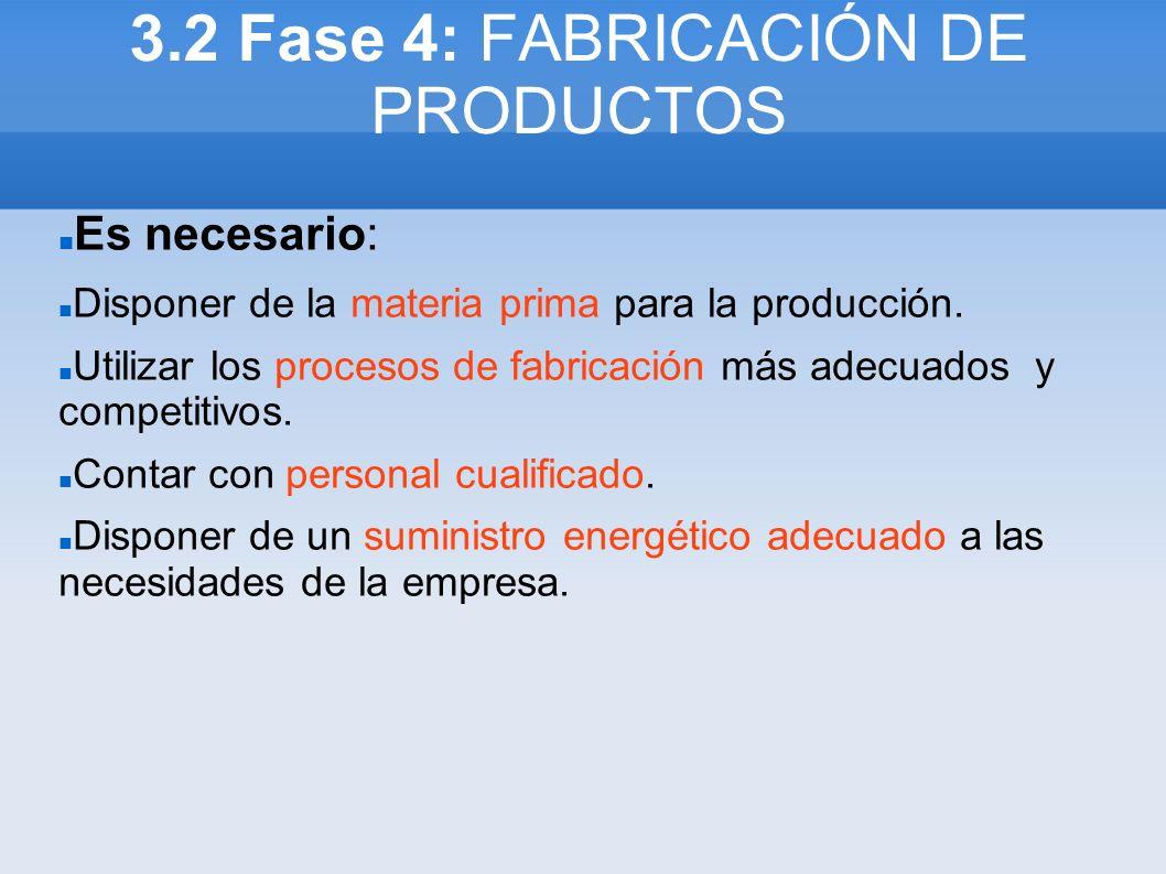 3.2 Fase 4: FABRICACIÓN DE PRODUCTOS Es necesario: Disponer de la materia prima para la producción. Utilizar los procesos de fabricación más adecuados
