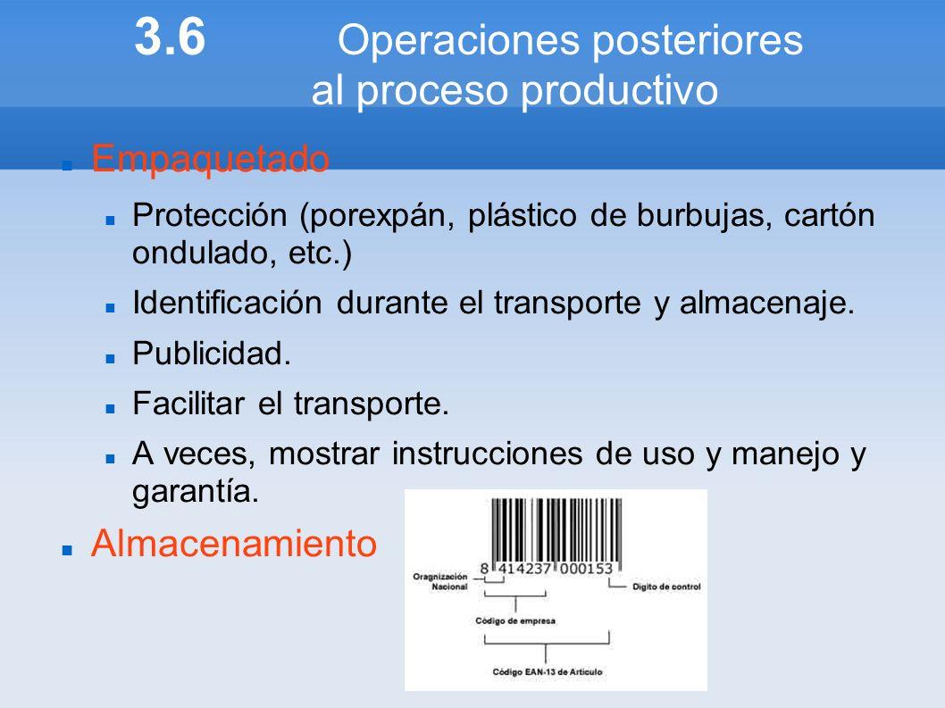 3.6 Operaciones posteriores al proceso productivo Empaquetado Protección (porexpán, plástico de burbujas, cartón ondulado, etc.) Identificación durant