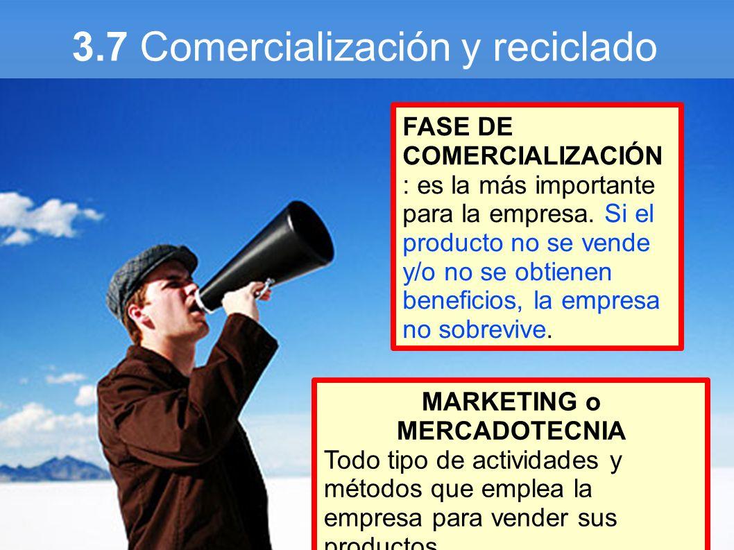 3.7 Comercialización y reciclado FASE DE COMERCIALIZACIÓN : es la más importante para la empresa. Si el producto no se vende y/o no se obtienen benefi