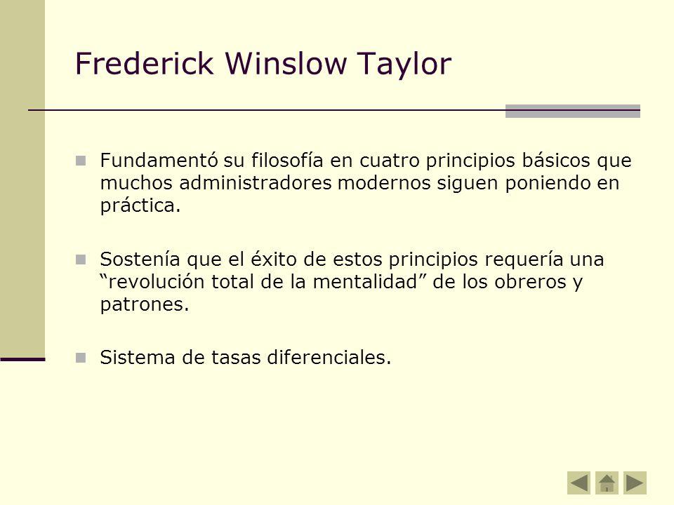 Frederick Winslow Taylor Fundamentó su filosofía en cuatro principios básicos que muchos administradores modernos siguen poniendo en práctica. Sostení