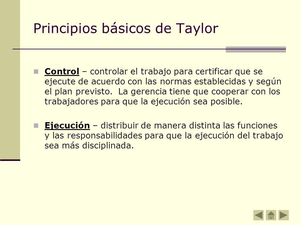 Principios básicos de Taylor Control – controlar el trabajo para certificar que se ejecute de acuerdo con las normas establecidas y según el plan prev