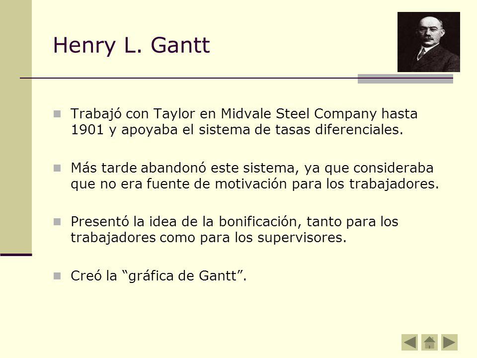 Henry L. Gantt Trabajó con Taylor en Midvale Steel Company hasta 1901 y apoyaba el sistema de tasas diferenciales. Más tarde abandonó este sistema, ya